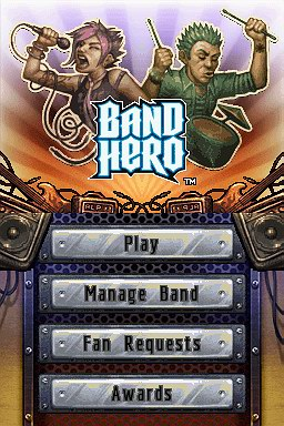 Band Hero Main Menu Interface on Drum Mode